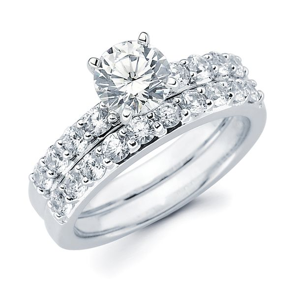 14k White Gold Engagement Set - Classic Bridal: 3/8 Ctw. Diamond Semi Mount shown with 1 Ct. Round Center Diamond in 14K Gold 1/2 Ctw. Diamond Wedding Band in 14K Gold Items also available to purchase separately