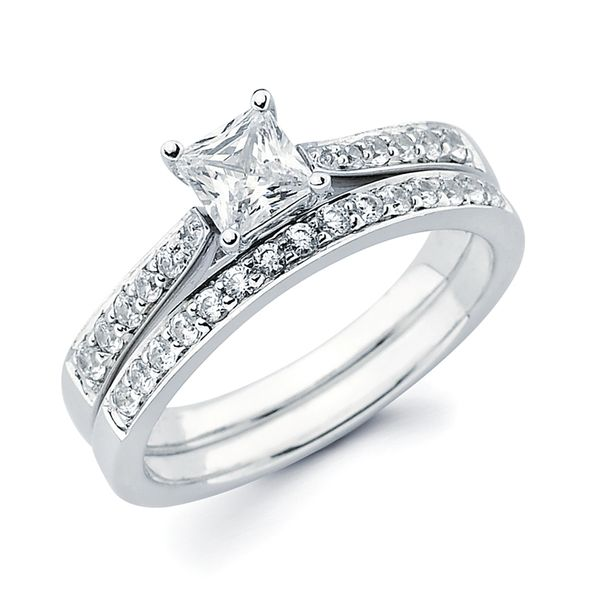 14k White Gold Engagement Set - Classic Bridal: 1/6 Ctw. Diamond Semi Mount shown with 1/2 Ct. Princess Cut Center Diamond in 14K Gold 1/5 Ctw. Diamond Wedding Band in 14K Gold Items also available to purchase separately