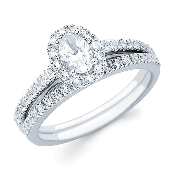 14k White Gold Engagement Set - Halo Bridal: 1/3 Ctw. Diamond Halo Semi Mount available for 1/2 Ct. Oval Center Diamond in 14K Gold 1/6 Ctw. Diamond Wedding Band in 14K Gold Items also available to purchase separately