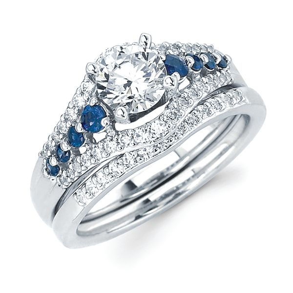 14k White Gold Bridal Set - Classic Bridal: 1/4 Tgw. Sapphire & Diamond Halo Semi Mount (Includes 1/5 Ctw. Diamonds) available for 3/4 Ct. Round Center Diamond in 14K Gold 1/10 Ctw. Diamond Contour Wedding Band in 14K Gold Items also available to purchase separately