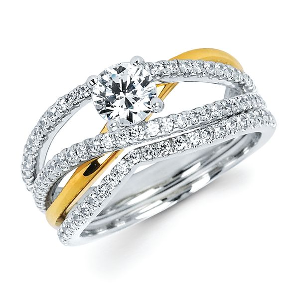 14k White & Yellow Gold Bridal Set - Modern Bridal: 1/3 Ctw. Diamond Split Shank Semi Mount shown with 1/2 Ct. Round Center Diamond in 14K Two Tone Gold 1/6 Ctw. Diamond Shadow Wedding Band in 14K Gold Items also available to purchase separately