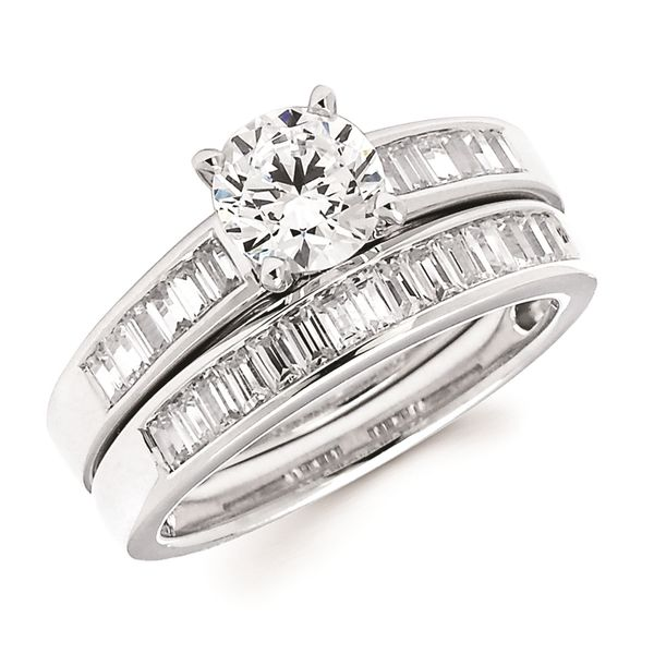14k White Gold Bridal Set - Classic Bridal: 1/3 Ctw. Baguette Cut Diamond Semi Mount shown with 1 Ct. Round Center Diamond in 14K Gold 1/3 Ctw. Baguette Cut Diamond Wedding Band in 14K Gold Items also available to purchase separately