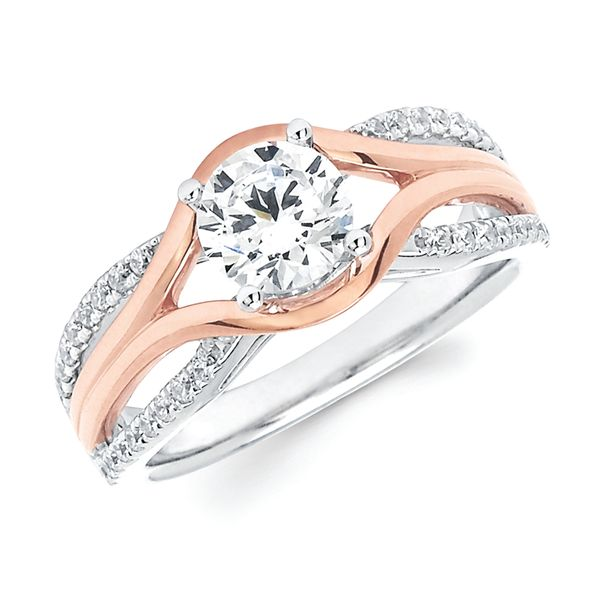 Engagement Rings - 14k White And Rose Gold Engagement Set - image #2