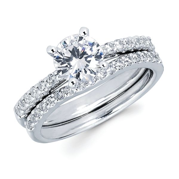 14k White Gold Engagement Set - Classic Bridal: 1/4 Ctw. Diamond Semi Mount available with 1 Ct. Round Center Diamond in 14K Gold 1/5 Ctw. Diamond Wedding Band in 14K Gold Items also available to purchase separately