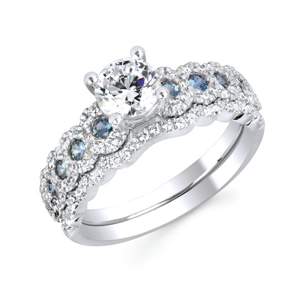 14k White Gold Engagement Set - Vibrant Love™ made with Swarovski Genuine Blue Sapphire and Diamond available with 3/4 Ct. Round Center in 14K Gold Vibrant Love™ made with Swarovski 1/10 Ctw. Diamond Wedding Band in 14K Gold Items also available to purchase separately