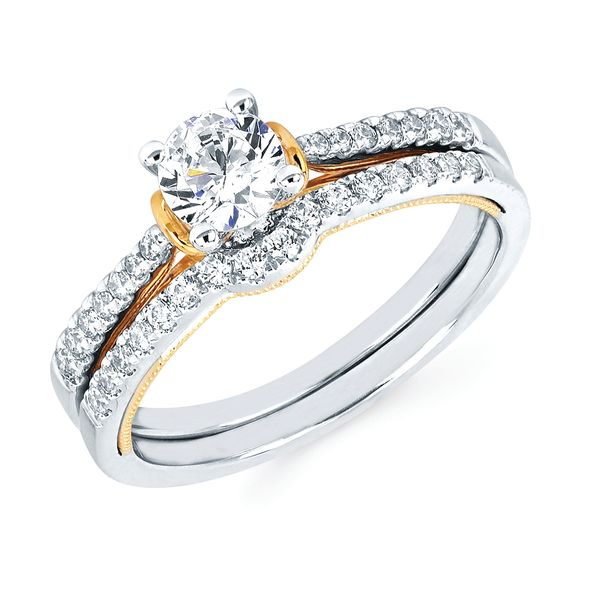14k White And Yellow Gold Engagement Set - Modern Bridal: 1/8 Ctw. Diamond Semi Mount shown with 1/2 Ctw. Round Center Diamond in 14K Gold 1/6 Ctw. Diamond Shadow Wedding Band in 14K Gold Items also available to purchase separately