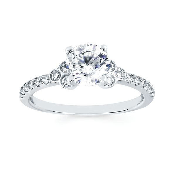 14k White Gold Engagement Set - Modern Bridal: 1/4 Ctw. Diamond Semi Mount shown with 1 Ctw. Round Center Diamond in 14K Gold 1/5 Ctw. Diamond Shadow Wedding Band in 14K Gold Items also available to purchase separately