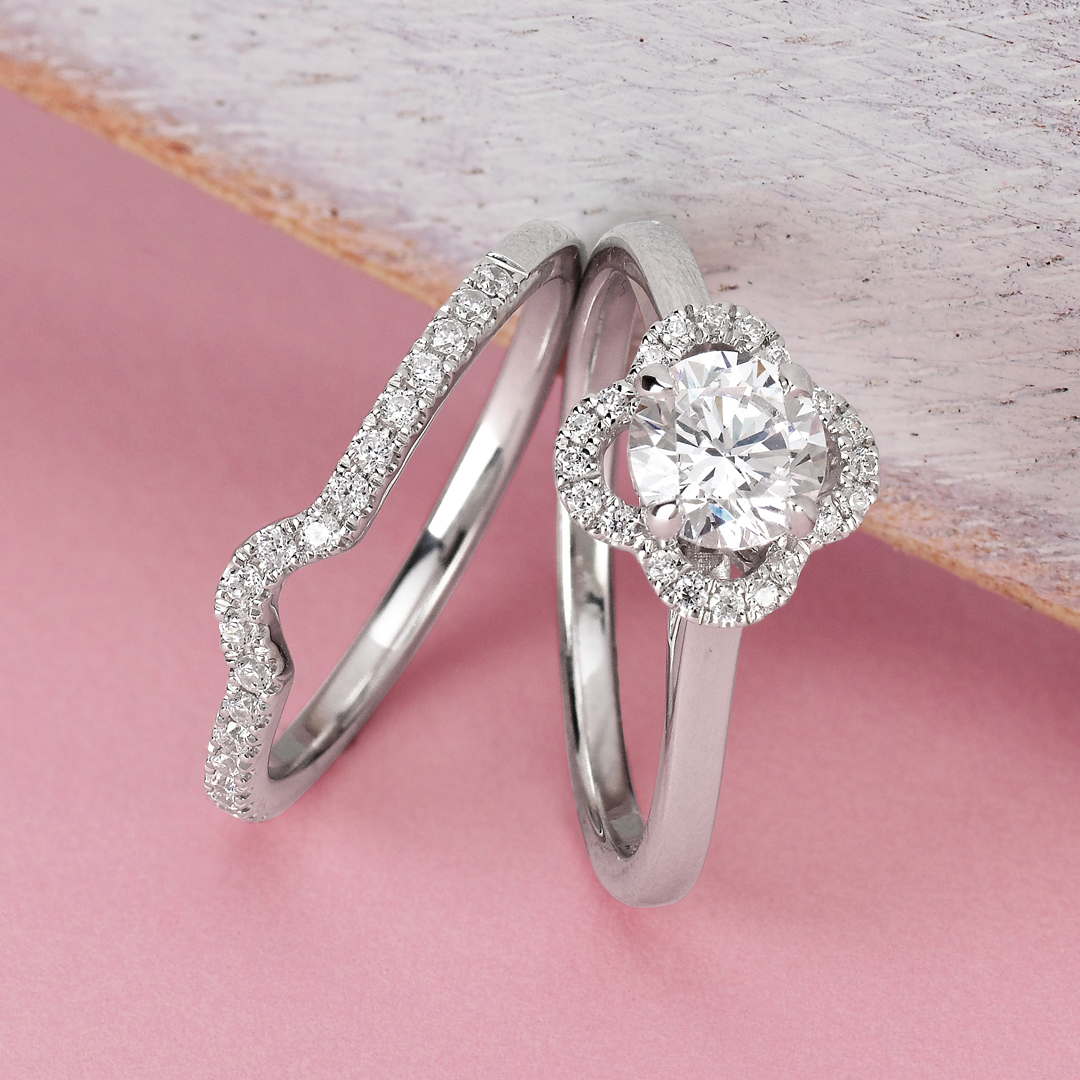 Engagement Rings - 14k White Gold Engagement Set - image #5