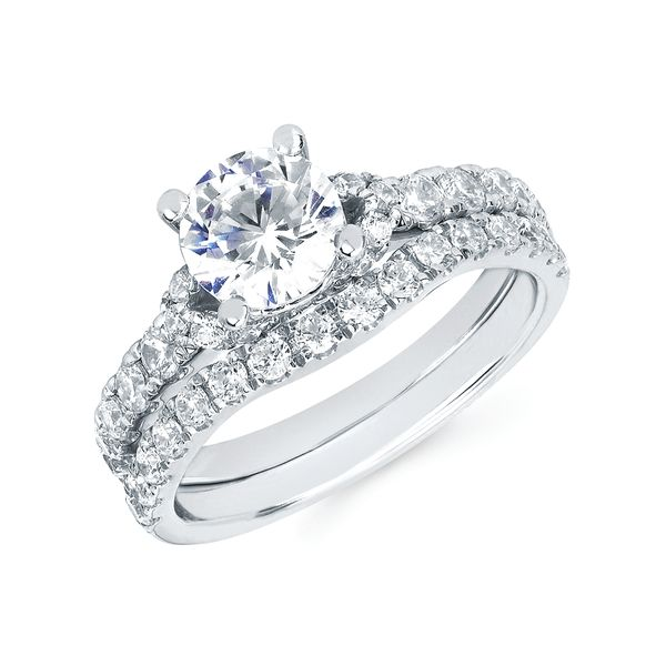 Engagement Rings - 14k White Gold Bridal Set