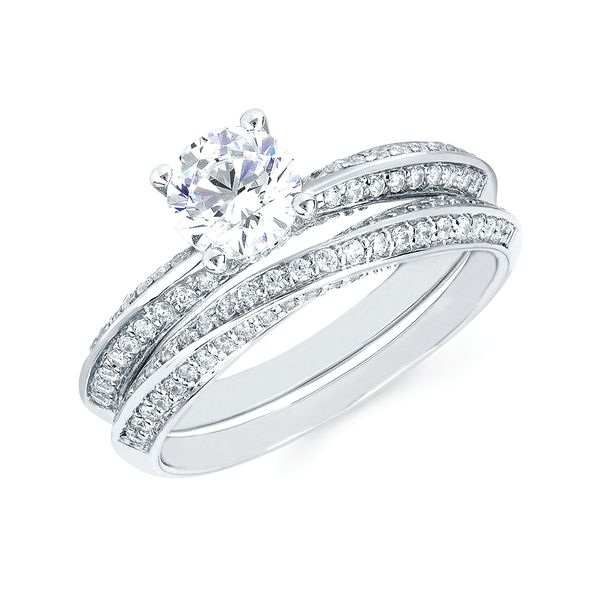 14k White Gold Engagement Set - Modern Bridal: 1/4 Ctw. Diamond Semi Mount shown with a 3/4 Ct. Round Center Diamond in 14K Gold 1/4 Ctw. Diamond Wedding Band in 14K Gold Items also available to purchase separately