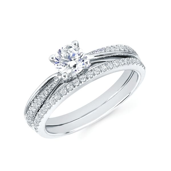 14k White Gold Engagement Set - Modern Bridal: 1/8 Ctw. Diamond Semi Mount shown with a 1/2 Ct. Round Center Diamond in 14K Gold 1/10 Ctw. Diamond Wedding Band in 14K Gold Items also available to purchase separately