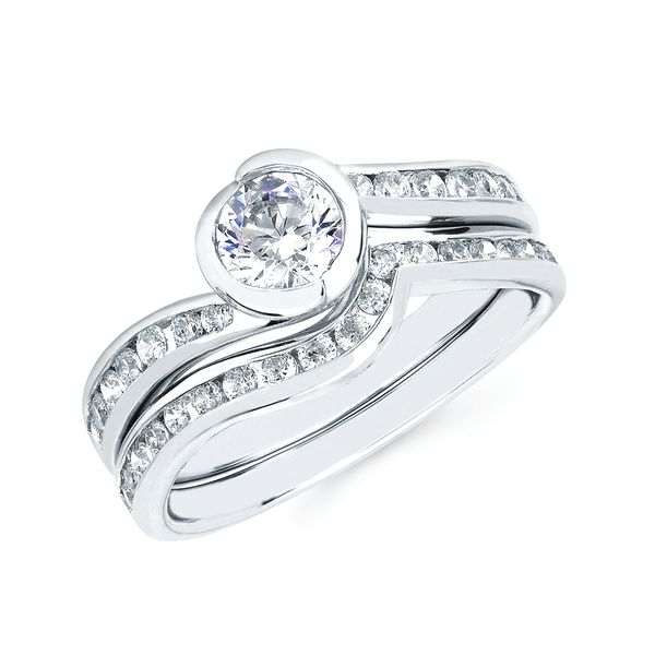 14k White Gold Engagement Set - Modern Bridal: 1/4 Ctw. Diamond Semi Mount shown with a 1/2 Ct. Round Center Diamond in 14K Gold 1/4 Ctw. Diamond Wedding Band in 14K Gold Items also available to purchase separately