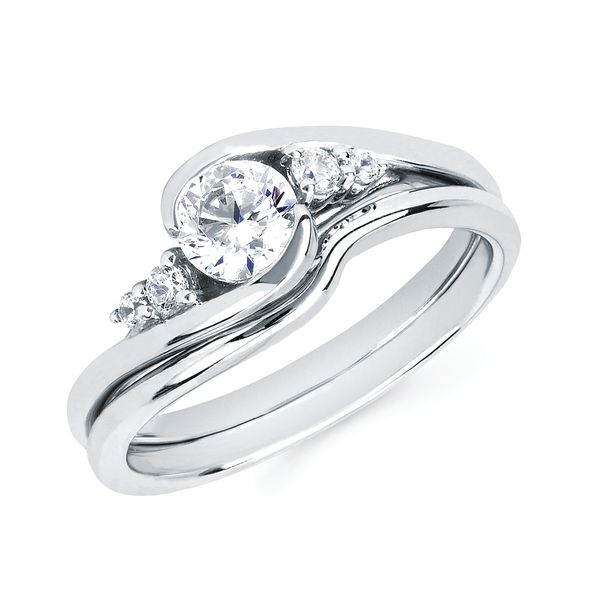 14k White Gold Engagement Set - Modern Bridal: 1/10 Ctw. Diamond Semi Mount shown with a 1/2 Ct. Round Center Diamond in 14K Gold Wedding Band in 14K Gold Items also available to purchase separately