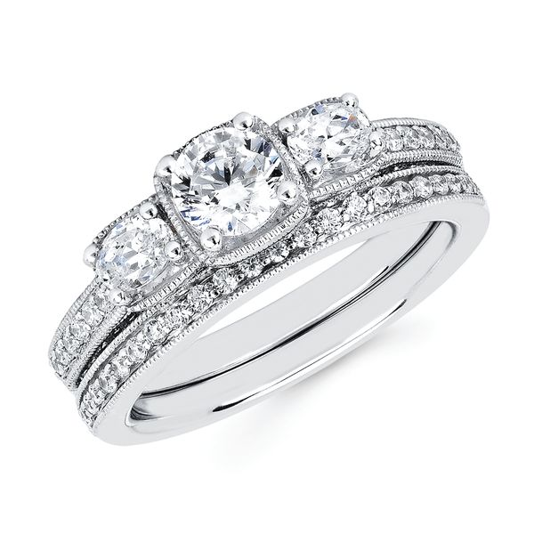 14k White Gold Engagement Set - Classic Bridal: 1/3 Ctw. Diamond Semi Mount shown with 1/2 Ct. Round Center Diamond in 14K Gold 1/8 Ctw. Diamond Wedding Band in 14K Gold Items also available to purchase separately
