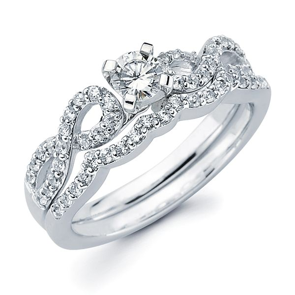 14k White Gold Engagement Set - Modern Bridal: 1/4 Ctw. Diamond Infinity Semi Mount shown with 1/4 Ct. Round Center Diamond in 14K Gold 1/8 Ctw. Diamond Wedding Band in 14K Gold Items also available to purchase separately