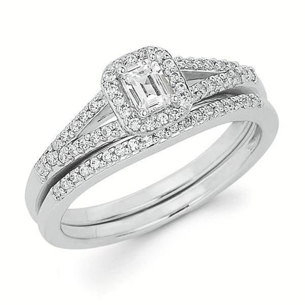 14k White Gold Engagement Set - Halo Bridal: 1/6 Ctw. Diamond Halo Split Shank Semi Mount available for 1/5 Ct. Emerald Cut Center Diamond in 14K Gold .08 Ctw. Diamond Wedding Band in 14K Gold Items also available to purchase separately