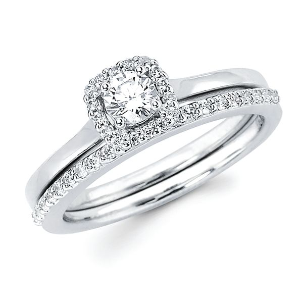 14k White Gold Engagement Set - Halo Bridal: .08 Ctw. Diamond Halo Semi Mount available for 1/4 Ct. Round Center Diamond in 14K Gold 1/6 Ctw. Diamond Wedding Band in 14K Gold Items also available to purchase separately