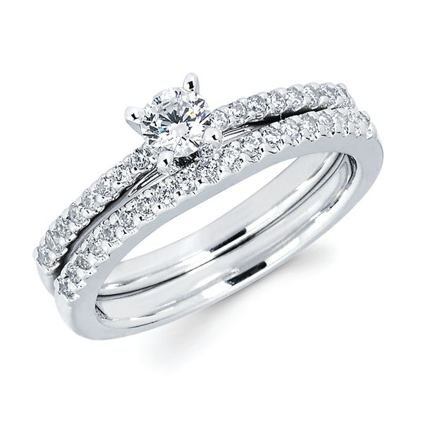 14k White Gold Engagement Set - Classic Bridal: 1/6 Ctw Diamond Semi Mount Available for 1/4 Round Center Diamond in 14K Gold 1/8 Ctw. Diamond Wedding Band in 14K Gold Items also available to purchase separately