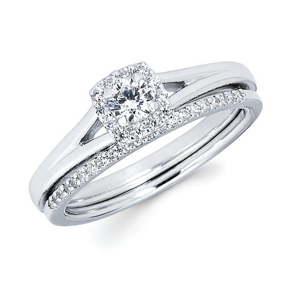 14k White Gold Engagement Set - Halo Bridal:.08 Ctw. Diamond Halo Semi Mount available for 1/5 Ctw. Round Center Diamond in 14K Gold 1/10 Ctw. Diamond Wedding Band in 14K Gold Items also available to purchase separately