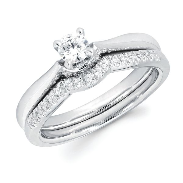 14k White Gold Engagement Set - Classic: .012 Ctw. Diamond Semi Mount with Round Center Diamond in 14K Gold 1/10 Ctw. Diamond Wedding Band in 14K Gold Items also available to purchase separately