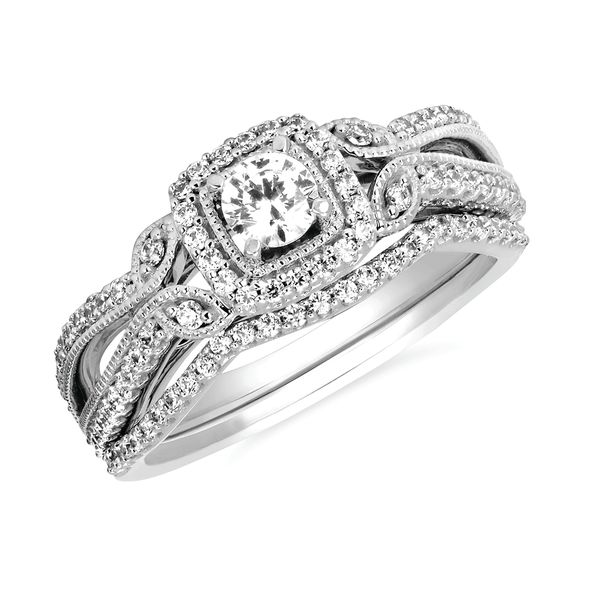 14k White Gold Engagement Set - Vintage: 3/8 Ctw. Diamond Semi Mount with 1/4  Round Center Diamond in 14K Gold 1/8 Ctw. Diamond Wedding Band in 14K Gold Items also available to purchase separately
