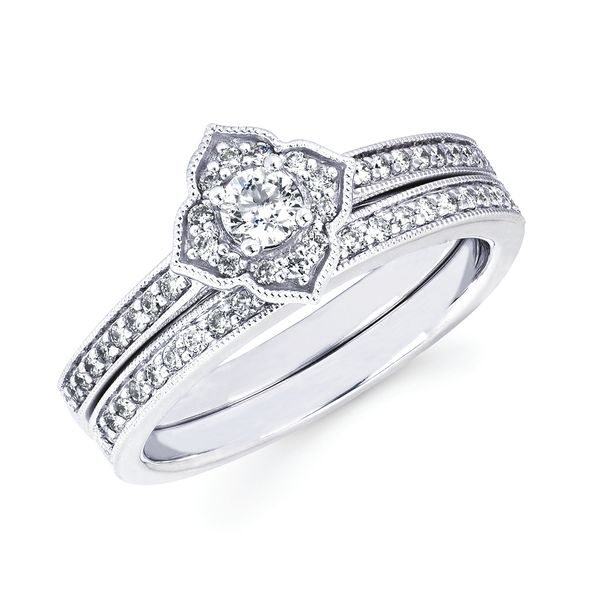 10k White Gold Engagement Set - Vintage: 1/5 Ctw. Diamond Semi Mount Available with 1/8 Round Center Diamond in 10K Gold 1/8 ctw. Diamond Wedding Band in 10K Gold Items also available to purchase separately