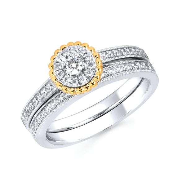 10k White And Yellow Gold Engagement Set by Celebration