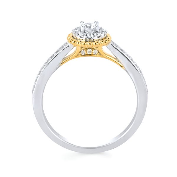 Bridal Sets - 10k White And Yellow Gold Engagement Set - image #2