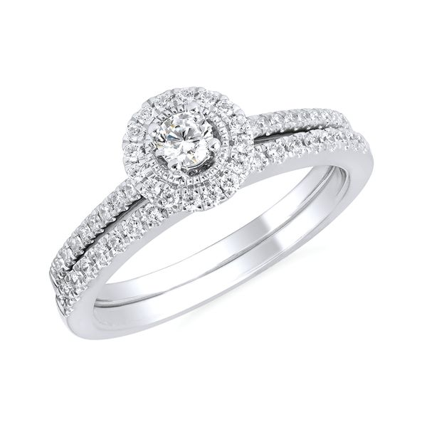 10k White Gold Engagement Set - Halo: 1/6 Ctw. Diamond Semi Mount Available with 1/8 Round Center Diamond in 10K Gold 1/8 ctw. Diamond Wedding Band in 10K Gold Items also available to purchase separately