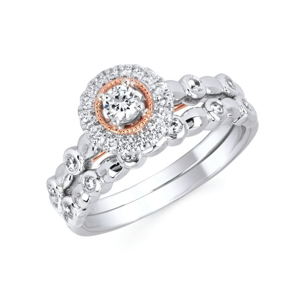 Bridal Sets - 10k White And Rose Gold Engagement Set
