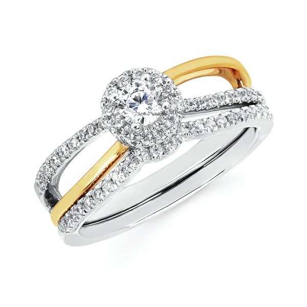 14k White And Yellow Gold Engagement Set - Modern: 1/5 Ctw. Diamond Semi Mount with 1/5 Ct. Round Center Diamond in 14K Gold 1/10 Ctw. Diamond Wedding Band in 14K Gold Items also available to purchase separately