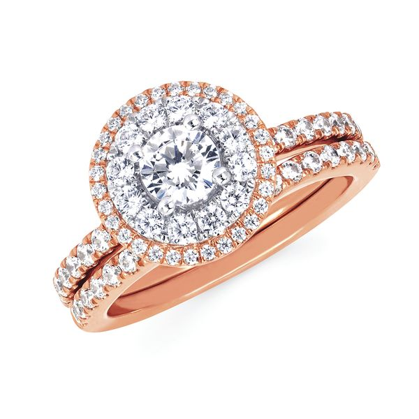 14k White And Rose Gold Engagement Set - Halo: 5/8 Ctw. Diamond Semi Mount with 3/8 Ct. Round Center Diamond in 14K Gold 1/4 Ctw. Diamond Wedding Band in 14K Gold Items also available to purchase separately