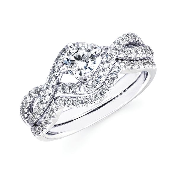 14k White Gold Engagement Set - Modern: 1/3 Ctw. Diamond Semi Mount shown with 3/8 Ct. Round Center Diamond in 14K Gold 1/8 Ctw. Diamond Wedding Band in 14K Gold Items also available to purchase separately