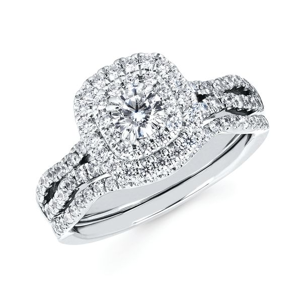 14k White Gold Engagement Set - Halo: 5/8 Ctw. Diamond Semi Mount with 1/3 Ct. Round Center Diamond in 14K Gold 1/10 Ctw. Diamond Wedding Band in 14K Gold Items also available to purchase separately
