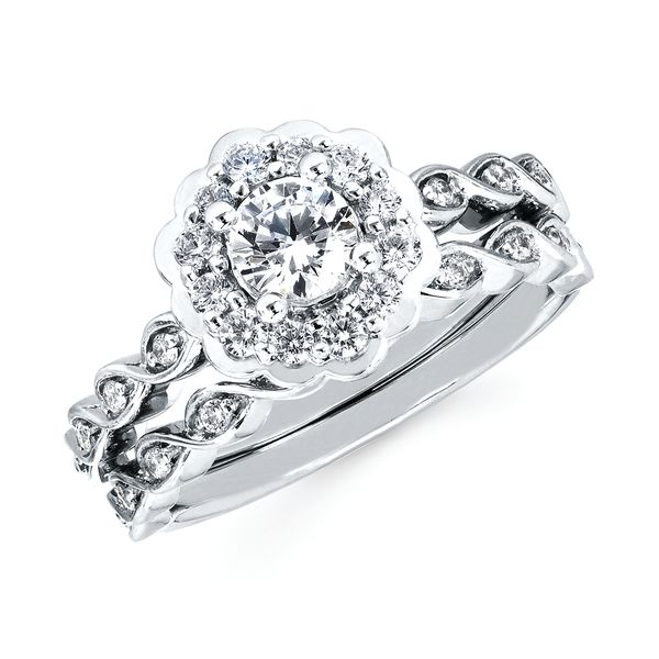 14k White Gold Engagement Set - Halo: 1/3 Ctw. Diamond Semi Mount with 3/8 Ct. Round Center Diamond in 14K Gold 1/10 Ctw. Diamond Wedding Band in 14K Gold Items also available to purchase separately
