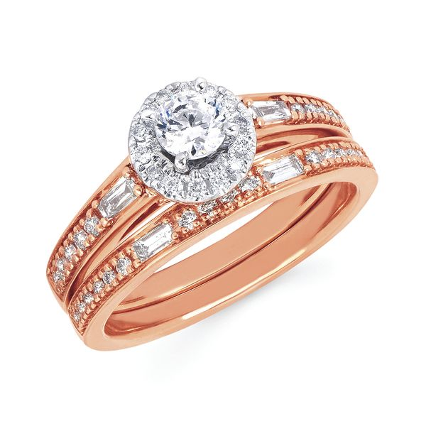 14k White And Rose Gold Engagement Set by Celebration