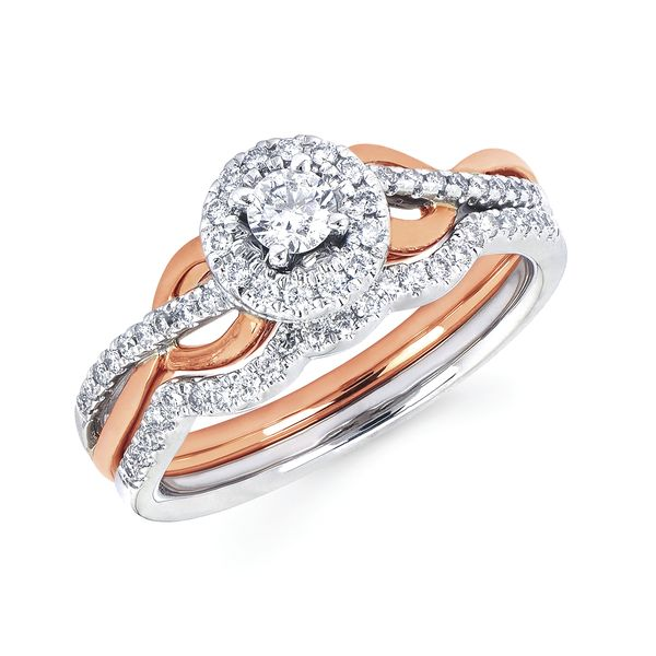 Sets - 14k White And Rose Gold Engagement Set