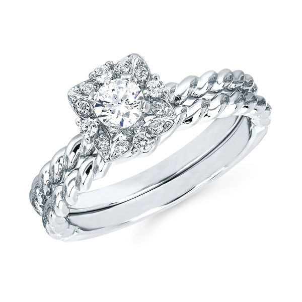 14k White Gold Engagement Set - Halo: 1/10 Ctw. Diamond Semi Mount shown with 1/4 Ct. Round Center Diamond in 14K Gold Wedding Band in 14K Gold Items also available to purchase separately