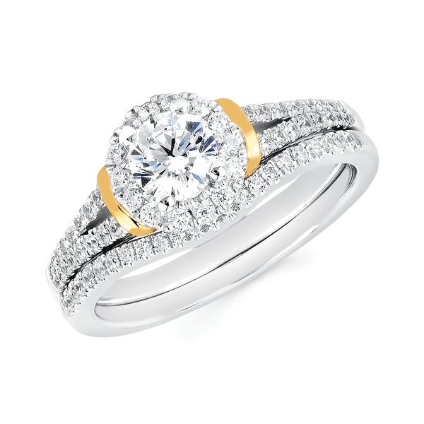 14k White And Yellow Gold Engagement Set by Celebration