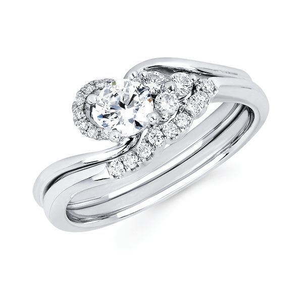 14k White Gold Engagement Set - Classic Bridal: 1/10 Ctw. Diamond Semi Mount available for 1/3 Ct. Round Center Diamond in 14K Gold 1/6 Ctw. Diamond Wedding Band in 14K Gold Items also available to purchase separately