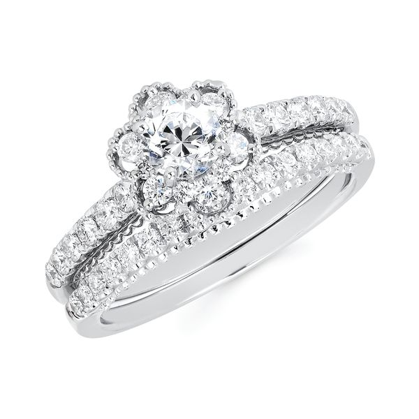 14k White Gold Engagement Set - Halo Bridal: 3/8 Ctw. Diamond Halo Semi Mount available for 1/3 Ct. Round Center Diamond in 14K Gold 1/5 Ctw. Diamond Wedding Band in 14K Gold Items also available to purchase separately