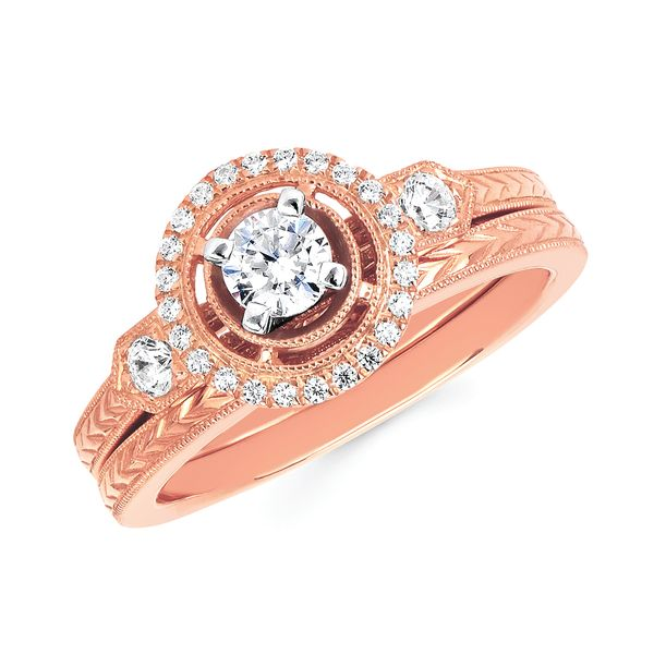 14k Rose Gold Engagement Set - Halo Bridal: 1/5 Ctw. Diamond Halo Semi Mount available for 1/4 Ct. Round Center Diamond in 14K Gold  Wedding Band in 14K Gold Items also available to purchase separately