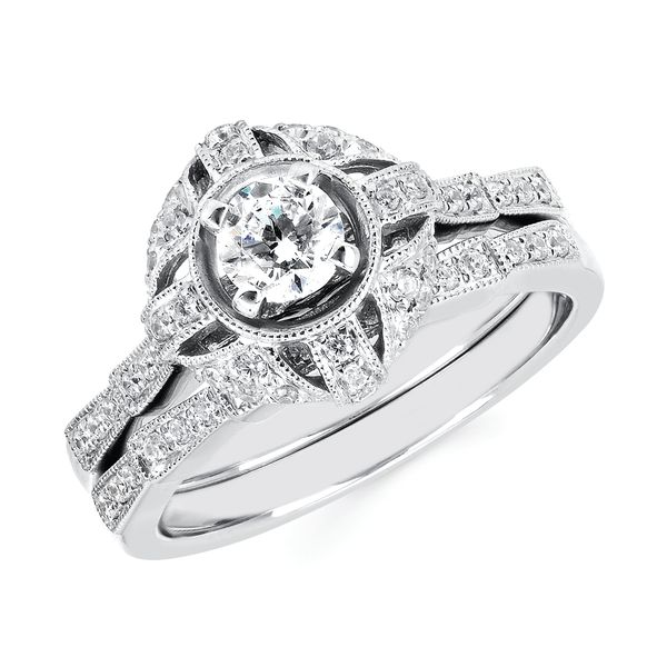 14k White Gold Engagement Set - Halo Bridal: 1/5 Ctw. Diamond Halo Semi Mount available for 1/3 Ct. Round Center Diamond in 14K Gold 1/10 Ctw. Diamond Wedding Band in 14K Gold Items also available to purchase separately
