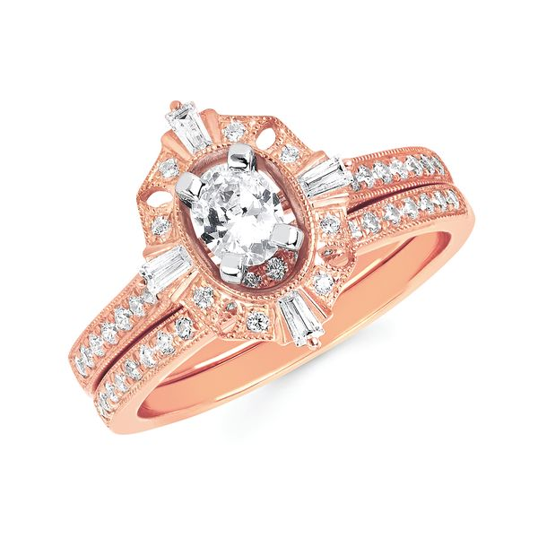 14k Rose Gold Engagement Set - Halo Bridal: 1/4 Ctw. Diamond Halo Semi Mount available for 1/3 Ct. Oval Center Diamond in 14K Gold 1/4 Ctw. Diamond Wedding Band in 14K Gold Items also available to purchase separately