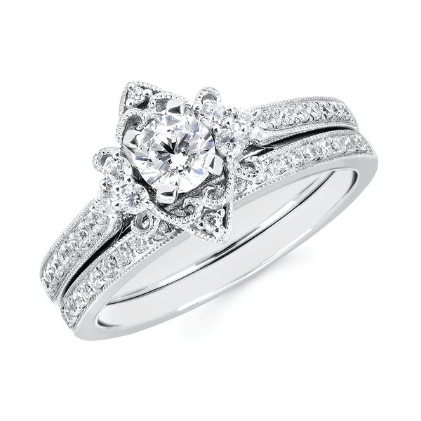 14k White Gold Engagement Set - Vintage Bridal: 1/5 Ctw. Diamond Semi Mount available for 1/3 Ct. Round Center Diamond in 14K Gold 1/8 Ctw. Diamond Wedding Band in 14K Gold Items also available to purchase separately