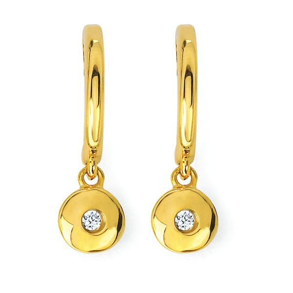 14K Yellow Gold Earrings - .04 Ctw. Diamond Circle Drop Earrings in 14K Gold