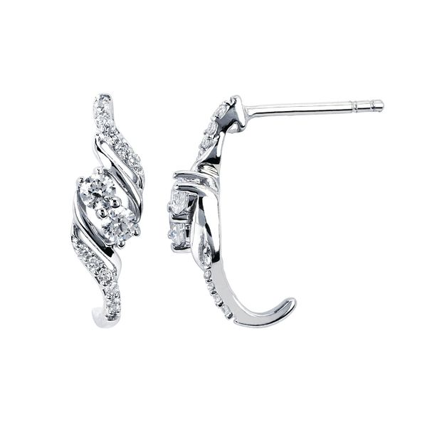 14K White Gold Earrings - 1/3 CTW Diamond Two-Stone Fashion Earring in 14K Gold