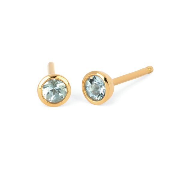 10k Yellow Gold Earrings - 3.5 mm Aquamarine Bezel Stud Earrings Aquamarine Earrings