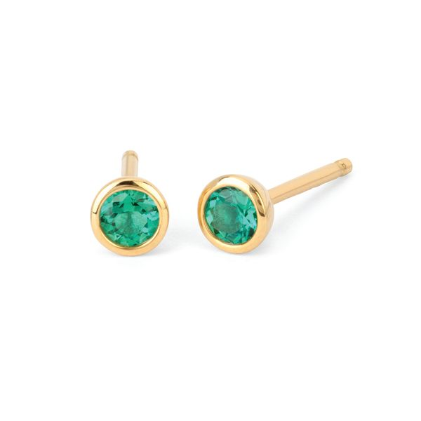 10k Yellow Gold Earrings - 3.5 mm Emerald Bezel Stud Earrings