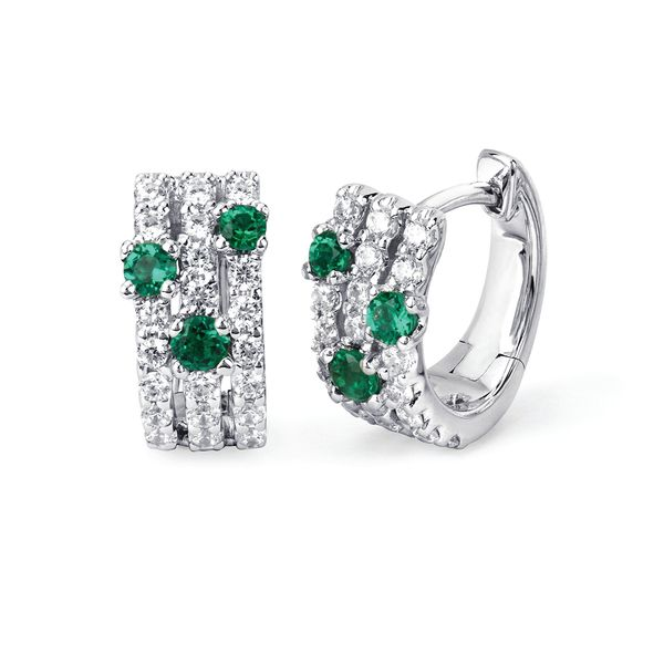 14k White Gold Earrings - 1/2 Ctw. Diamond and Emerald Huggie Hoop Earrings in 14K Gold